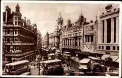Postcard London City, Tottenham Court Road, Busses, Horne Bros, Cutuna