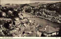 Postcard Looe South West England, general view from Looe Downs