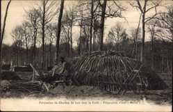 Ak Fabrication du Charbon de bois dans la Foret, Preparation d'une Meule