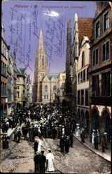 Postcard Münster Westfalen, Der Prinzipalmarkt am Sonntag, Kirche