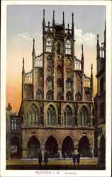 Postcard Münster in Westfalen, Vorderansicht vom Rathaus