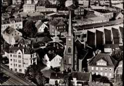 Postcard Neumünster in Schleswig Holstein, St Maria St Vicelin Kirche, Fliegeraufnahme