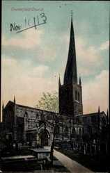 Postcard Chesterfield East Midlands England, view of the church