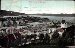 Postcard Bergen Norwegen, Panorama, Gesamtansicht der Stadt