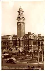 Postcard Bournemouth South West England, Municipal College and Central Library