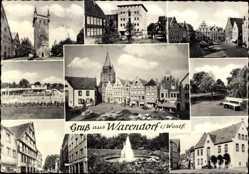 Postcard Warendorf in Nordrhein Westfalen, Laurentiuskirche, Marktplatz, Marienkirche