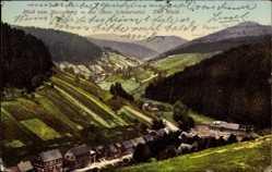Postcard Masserberg im Thüringer Schiefergebirge,Blick vom Berg ins obere Schwarzwatal