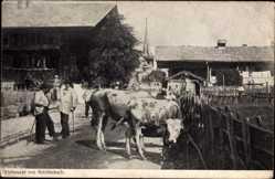 Ak Reichenbach im Vogtland, Viehmakrt. Kühe, Bauern