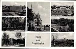 Postcard Neumünster, Großflecken, Renkspark, Ehrenhain, Rathaus, Bahnhof