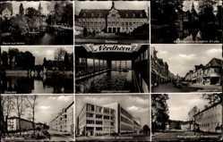 Postcard Nordhorn im Münsterland, Rathaus, Viechte, Schwimmbad, Hauptstraße