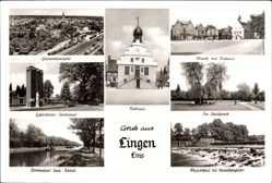 Postcard Lingen im Emsland in Niedersachsen, Kurhaus, Stadtpark, Gefallenendenkmal
