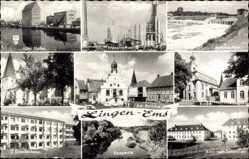 Postcard Lingen im Emsland in Niedersachsen, Alter Hafen, Erdölraffinierung, Rathaus