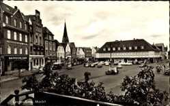 Postcard Lingen im Emsland in Niedersachsen, Blick auf den Markt, Kirchturm