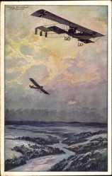 Künstler Ak Schulze, Hans Rudolf, Militärdoppeldecker, Erkundungsflug