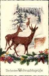 Postcard Frohe Weihnachten, Rehe im Wald, Winter, Schnee