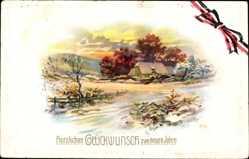 Postcard Glückwunsch Neujahr, Bauernhaus im Schnee, Winter, Patriotik