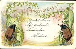 Präge Ak Glückwunsch Pfingsten, Maikäfer, Glockenblumen