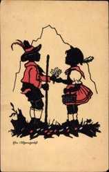 Scherenschnitt Ak Ein Ehrengruß, Senn, Mädchen, Trachten, Blumenstrauß