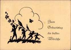 Scherenschnitt Ak Glückwunsch Geburtstag, Elfen mit Zweig, Schmetterling