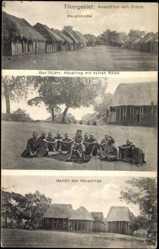 Postcard Ditam Tikargebiet Kamerun, Häuptling mit seinen Räten, Gehöft, Hauptstraße