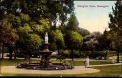 Postcard Ramsgate South East England, Ellington park, fountain, Brunnen