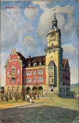Künstler Ak Undeutsch, Falkenstein Vogtland, Vorderansicht vom Rathaus
