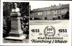 Postcard Nienburg an der Weser, Staatsbauschule, 1853 bis 1953, Denkmal Rhien