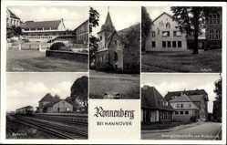 Postcard Ronnenberg in Niedersachsen, Schule, Bahnhof, Weingartenstraße, Volksbank