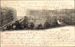 Postcard Chemnitz Sachsen, Blick auf den Kaiserplatz, Hausfassaden, Parkanlage