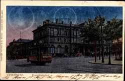 Postcard Chemnitz Sachsen, Blick auf den Hauptbahnhof, Straßenbahn Nicolaibahnhof
