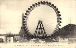 Postcard Paris 15e, La grande Roue, vue sur la Tour Eiffel et le Trocadéro
