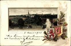 Präge Wappen Litho Luxemburg, Straße zur Stadt, Pferdekutsche, Kirchturm