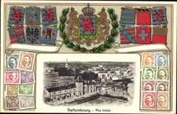 Präge Wappen Briefmarken Ak Bettembourg Luxemburg, Vue Totale