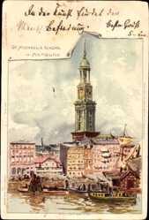 Künstler Litho Biese, C., Hamburg, St. Michaeliskirche und die Elbe, Schiffe