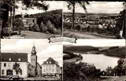 Postcard Attendorn im Hochsauerland, Stausee Ahausen, Burg Schnellenberg, Kirche