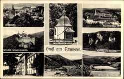 Postcard Attendorn Im Hochsauerland, Schloss Schnellenberg, Ursulinenkloster, Klippen