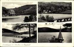 Postcard Attendorn im Hochsauerland, Listertalsperre, Segeln, Brücke