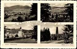 Postcard Oberhundem Kirchhundem, Rhein Weser Turm, Schloss Adolfsburg