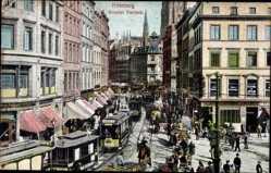 Postcard Hamburg Mitte Altstadt, Großer Burstah, Straßenbahn
