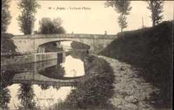 Postcard Joigny sur Meuse Yonne, Le Canal d'Epizy, Flusspartie mit Brücke