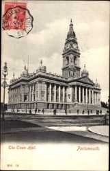 Postcard Portsmouth South East England, The Town Hall, Rathaus