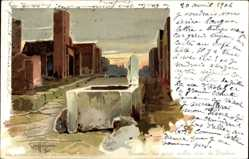 Künstler Litho Craffonara, Pompei Campania, Un pozzo sulla via di Stabia