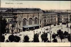 Postcard Straßburg Elsaß Bas Rhin, La Gare, Bahnhof aus der Vogelschau