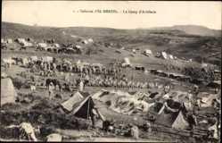 Postcard El Menzel Marokko, Le Camp d'Artillerie, Zeltlager, Soldaten, Pferde