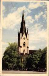 Postcard Linköping Schweden, Domkyrkan, Straßenpartie mit Blick auf Kirche
