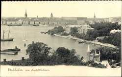 Postcard Stockholm Schweden, Blick auf den Ort von Kastellholmen, Häuser