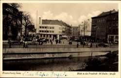 Postcard Braunschweig in Niedersachsen, Blick in die Friedrich Wilhelm Straße, Brücke