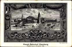 Postcard Hamburg Mitte, Hauptbahnhoferöffnung Dezember 1906, Kaiser Wilhelm II.