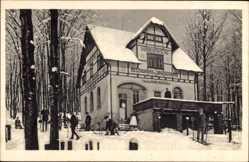 Postcard Ehrenfriedersdorf im Erzgebirge,Restaurant Jagdschänke im Winter,Inh. Schwarz
