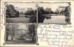 Postcard Hamburg, Ansichten der einer Villa am See, Garten